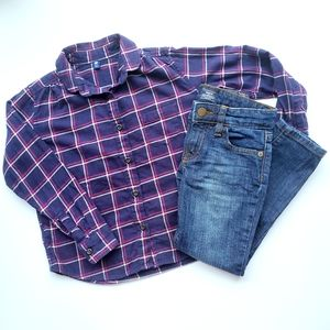 Uniqlo Plaid Navy & Pink Shirt and Gap Jeans Lot